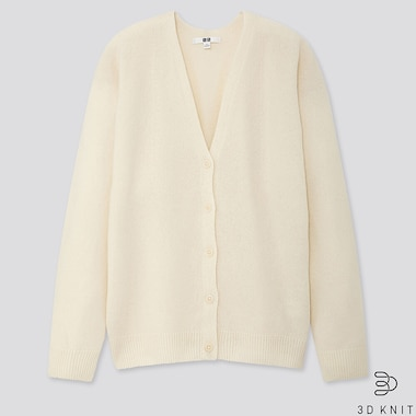 WOMEN 3D PREMIUM LAMBSWOOL COCOON CARDIGAN, OFF WHITE, medium