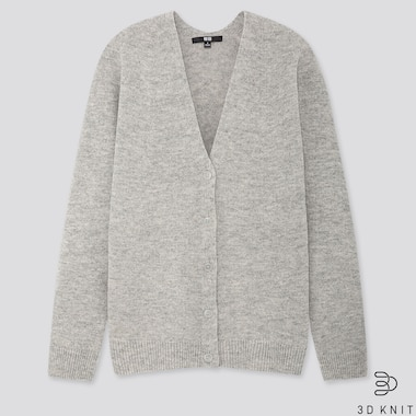 Women 3d Premium Lambswool Cocoon Cardigan, Light Gray, Medium