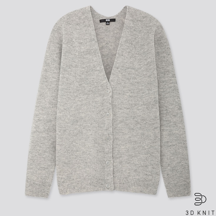 WOMEN 3D PREMIUM LAMBSWOOL COCOON CARDIGAN, LIGHT GRAY, large