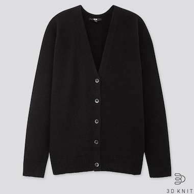 WOMEN 3D PREMIUM LAMBSWOOL COCOON CARDIGAN, BLACK, medium