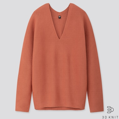 WOMEN 3D COTTON COCOON SWEATER, ORANGE, medium