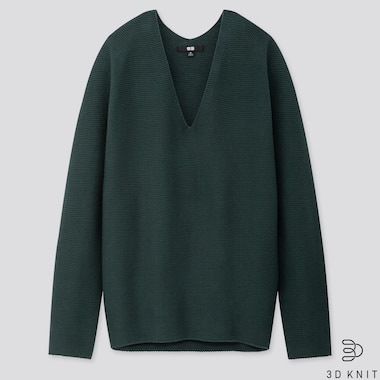 WOMEN 3D COTTON COCOON SWEATER, DARK GREEN, medium