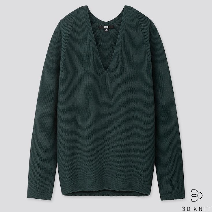 WOMEN 3D COTTON COCOON SWEATER, DARK GREEN, large
