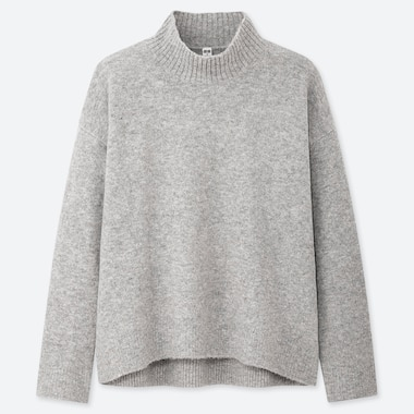 WOMEN SOUFFLE YARN MOCK NECK SWEATER, LIGHT GRAY, medium