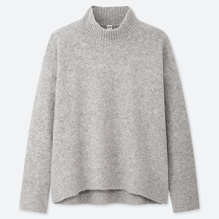 WOMEN SOUFFLE YARN MOCK NECK SWEATER, LIGHT GRAY, large