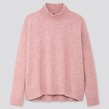 WOMEN SOUFFLE YARN MOCK NECK SWEATER, PINK, medium