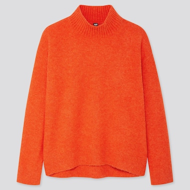 WOMEN SOUFFLE YARN MOCK NECK SWEATER, ORANGE, medium