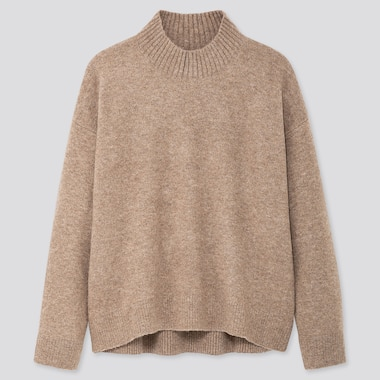 WOMEN SOUFFLE YARN MOCK NECK SWEATER, BEIGE, medium
