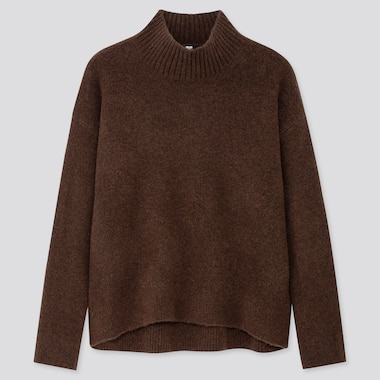 WOMEN SOUFFLE YARN MOCK NECK SWEATER, DARK BROWN, medium