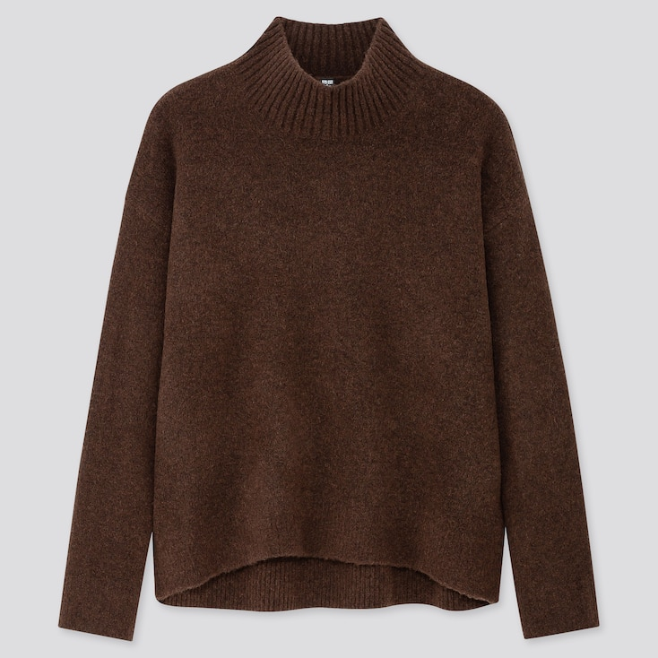 WOMEN SOUFFLE YARN MOCK NECK SWEATER, DARK BROWN, large
