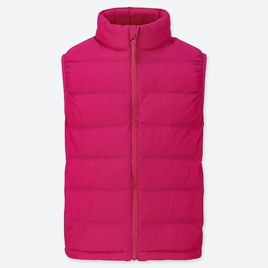 KIDS LIGHT WARM PADDED VEST, PINK, medium