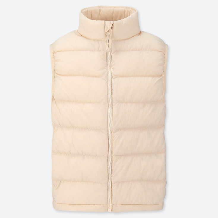 Kids Light Warm Padded Vest, Natural, Large