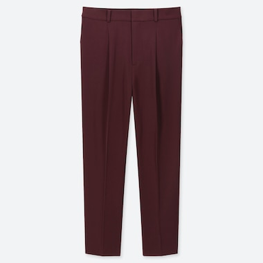 WOMEN DRAPE TAPERED ANKLE PANTS, WINE, medium