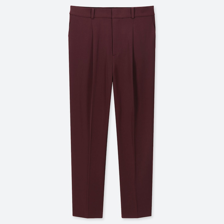 WOMEN DRAPE TAPERED ANKLE PANTS, WINE, large
