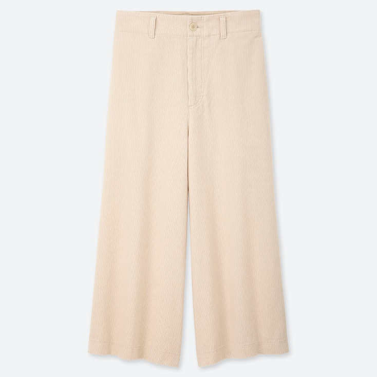 WOMEN HIGH-WAIST CORDUROY WIDE CROPPED PANTS, OFF WHITE, large