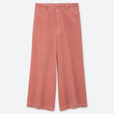 WOMEN HIGH-WAIST CORDUROY WIDE CROPPED PANTS, PINK, medium