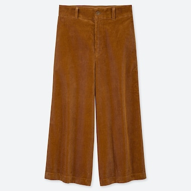 WOMEN HIGH-WAIST CORDUROY WIDE CROPPED PANTS, BROWN, medium