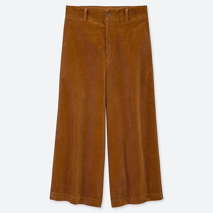 WOMEN HIGH-WAIST CORDUROY WIDE CROPPED PANTS, BROWN, large