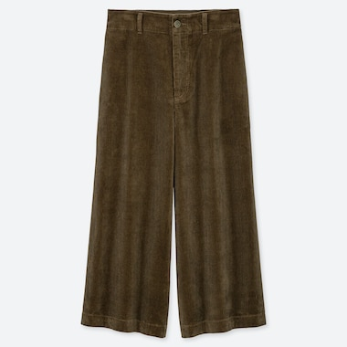 WOMEN HIGH-WAIST CORDUROY WIDE CROPPED PANTS, OLIVE, medium