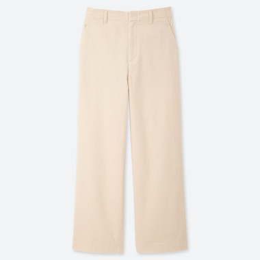 WOMEN HIGH-WAISTED CORDUROY WIDE STRAIGHT PANTS, OFF WHITE, medium