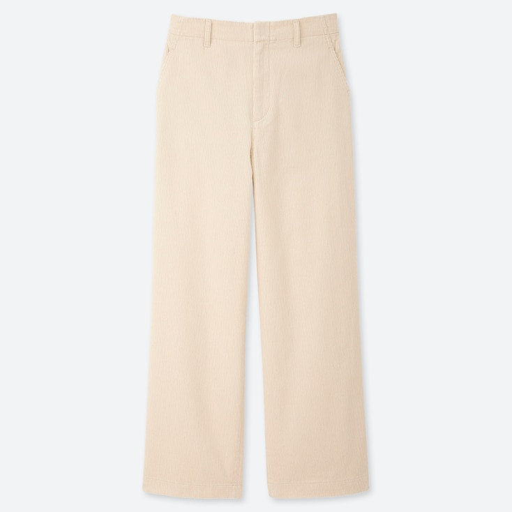 WOMEN HIGH-WAISTED CORDUROY WIDE STRAIGHT PANTS, OFF WHITE, large