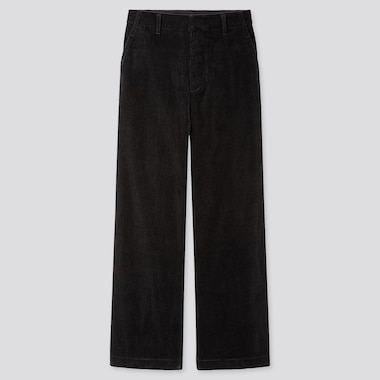 WOMEN HIGH-WAISTED CORDUROY WIDE STRAIGHT PANTS, BLACK, medium