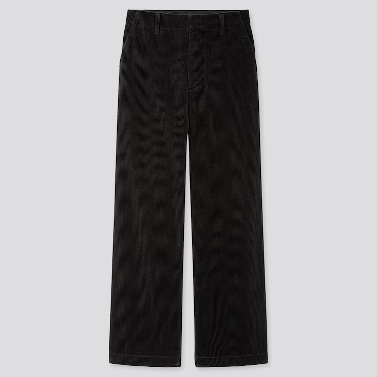 Women High-waisted Corduroy Wide Straight Pants, Black, Large