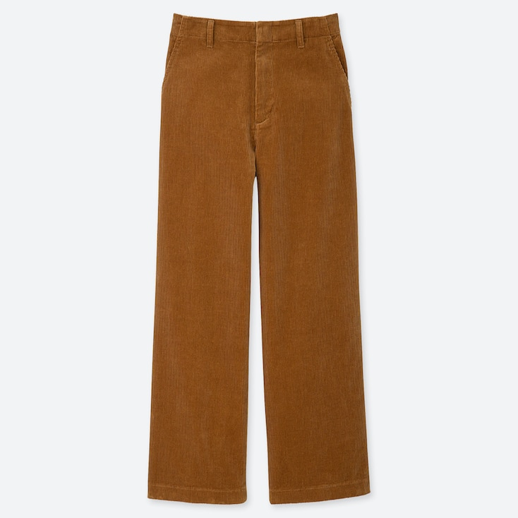 Women High-Waisted Corduroy Wide Straight Pants, Brown, Large