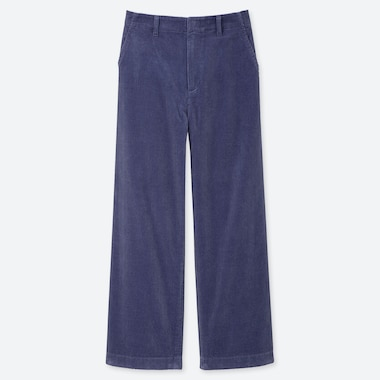 WOMEN HIGH-WAISTED CORDUROY WIDE STRAIGHT PANTS, BLUE, medium