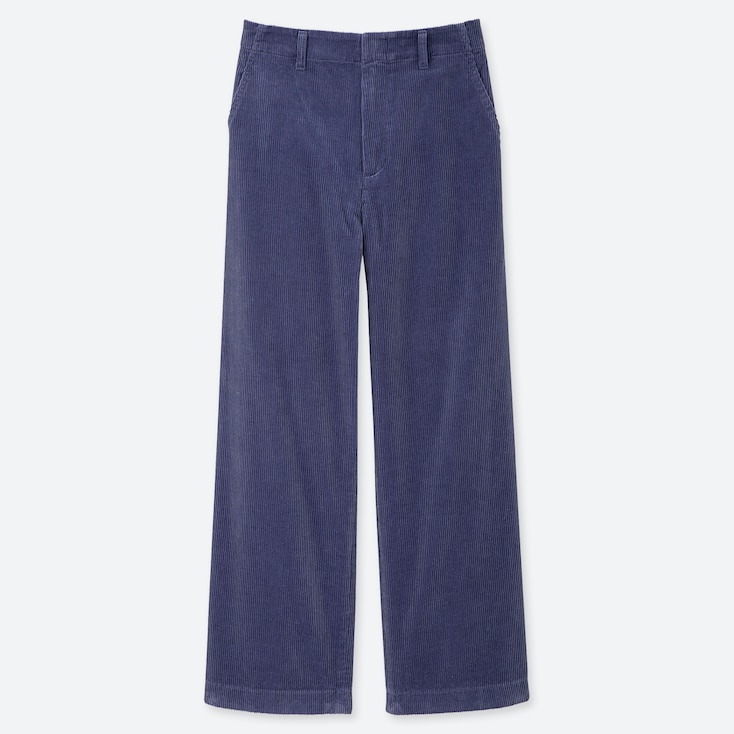 WOMEN HIGH-WAISTED CORDUROY WIDE STRAIGHT PANTS, BLUE, large