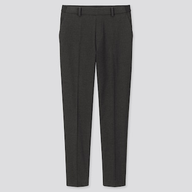WOMEN EZY BRUSHED ANKLE-LENGTH PANTS, DARK GRAY, medium