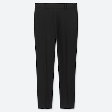 WOMEN EZY BRUSHED ANKLE-LENGTH PANTS, BLACK, medium