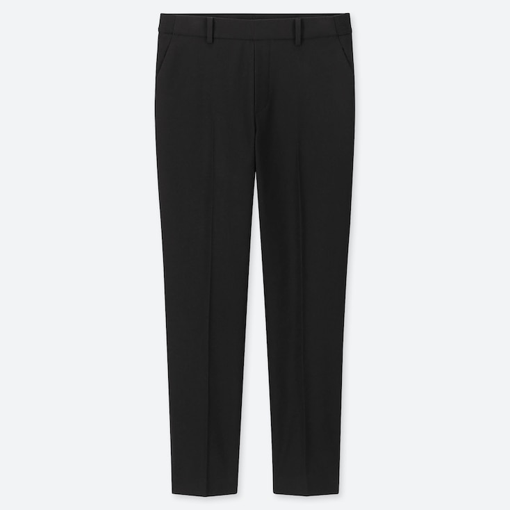 WOMEN EZY BRUSHED ANKLE-LENGTH PANTS, BLACK, large