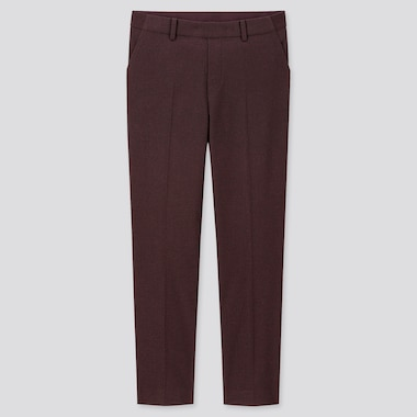 WOMEN EZY BRUSHED ANKLE-LENGTH PANTS, WINE, medium