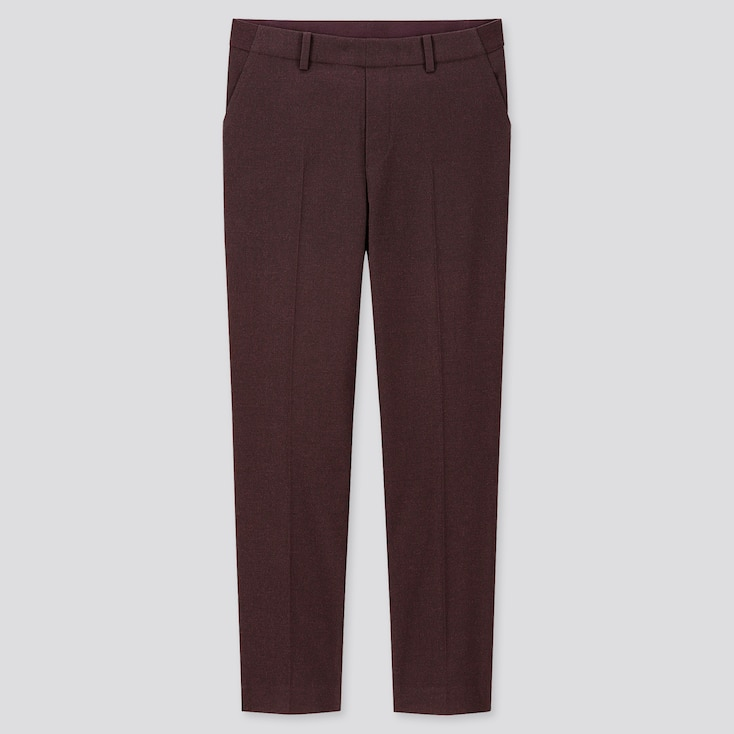 WOMEN EZY BRUSHED ANKLE-LENGTH PANTS, WINE, large
