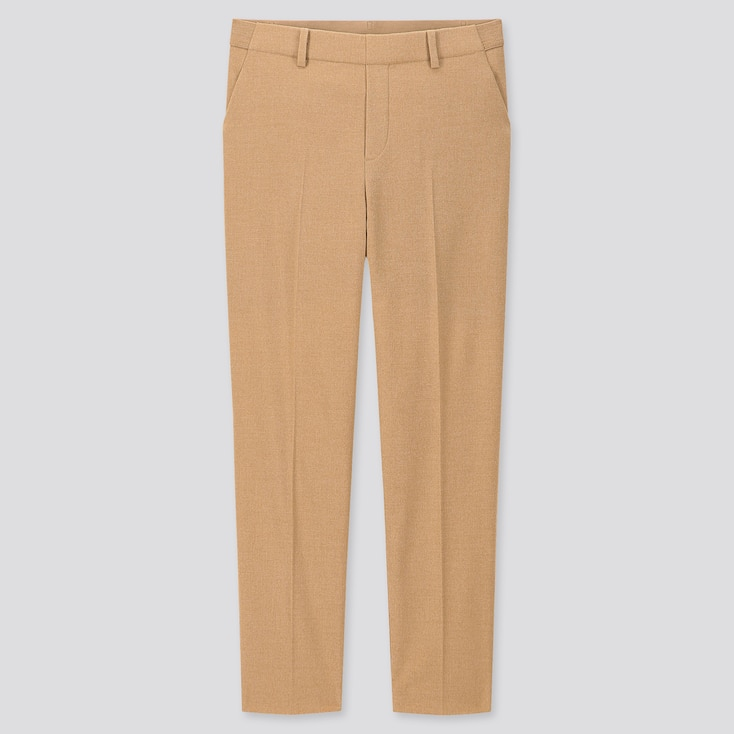Women Ezy Brushed Ankle-Length Pants, Brown, Large