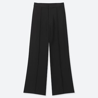 WOMEN HIGH-WAISTED DRAPE WIDE STRAIGHT PANTS, BLACK, medium