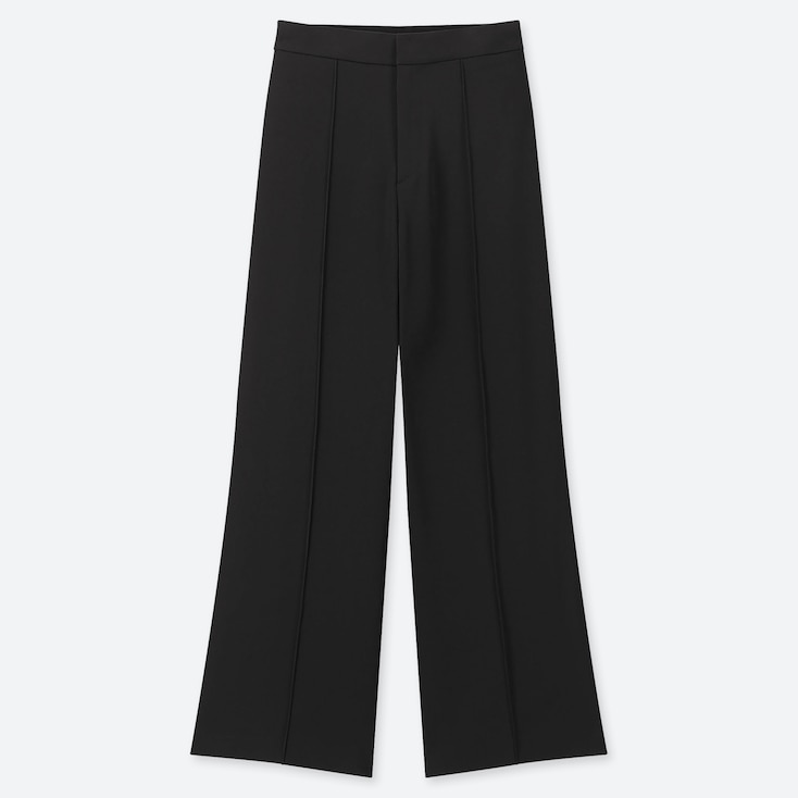 WOMEN HIGH-WAISTED DRAPE WIDE STRAIGHT PANTS, BLACK, large