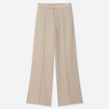 WOMEN HIGH-WAISTED DRAPE WIDE STRAIGHT PANTS, BEIGE, medium