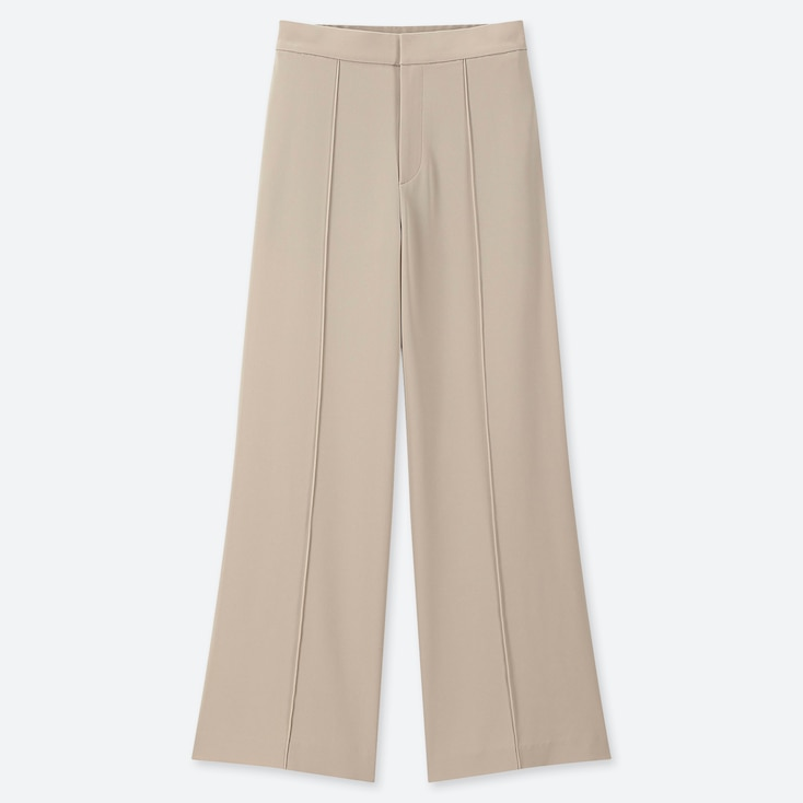 WOMEN HIGH-WAISTED DRAPE WIDE STRAIGHT PANTS, BEIGE, large