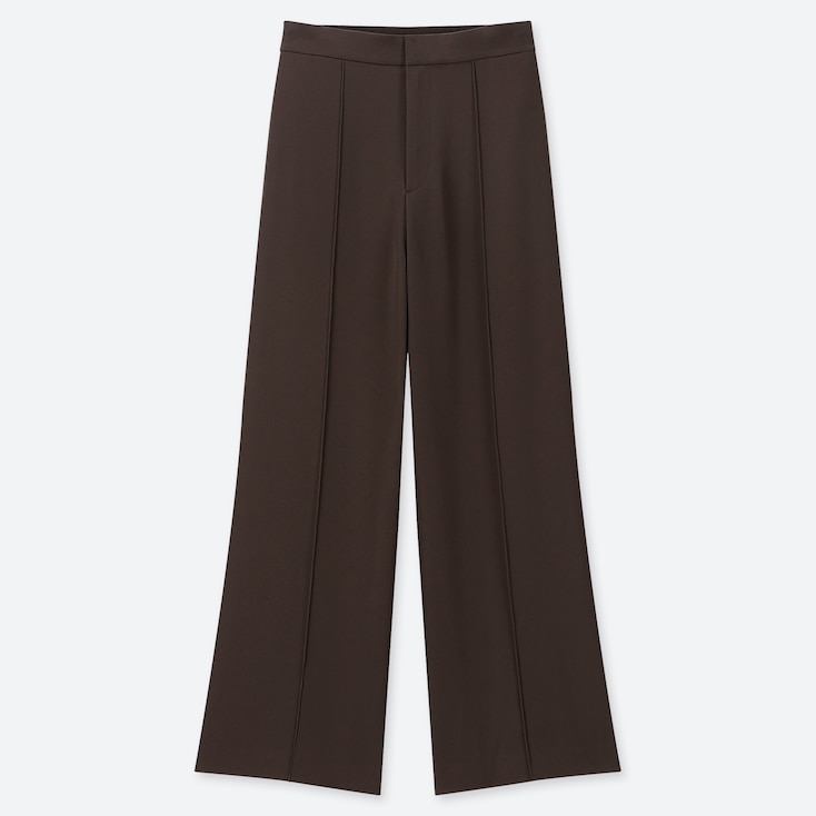WOMEN HIGH-WAISTED DRAPE WIDE STRAIGHT PANTS, DARK BROWN, large