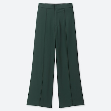 WOMEN HIGH-WAISTED DRAPE WIDE STRAIGHT PANTS, DARK GREEN, medium