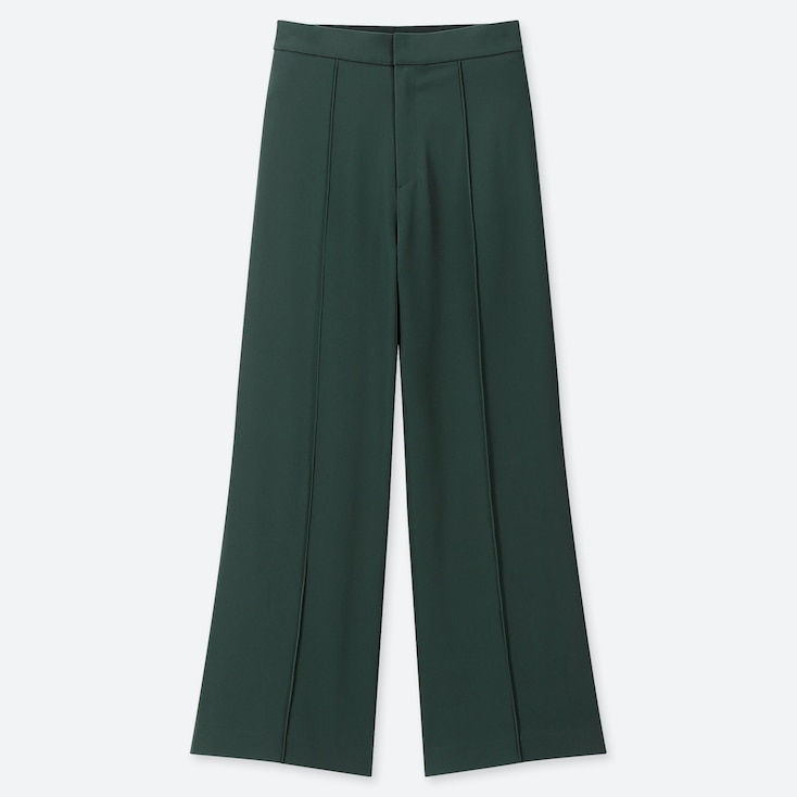 WOMEN HIGH-WAISTED DRAPE WIDE STRAIGHT PANTS, DARK GREEN, large