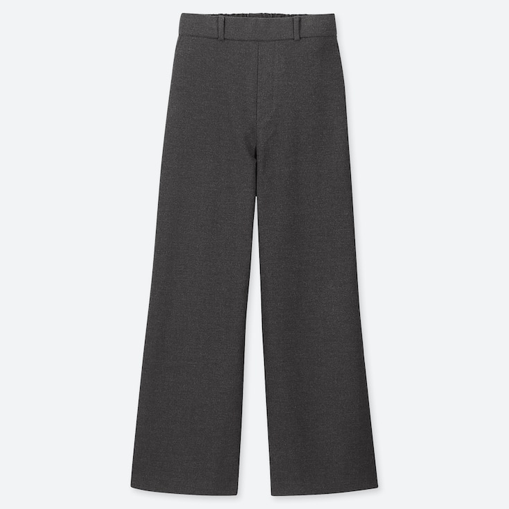 WOMEN WIDE STRAIGHT PANTS (BRUSHED), DARK GRAY, large