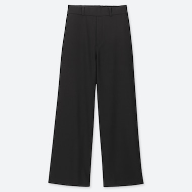 WOMEN WIDE STRAIGHT PANTS (BRUSHED), BLACK, medium