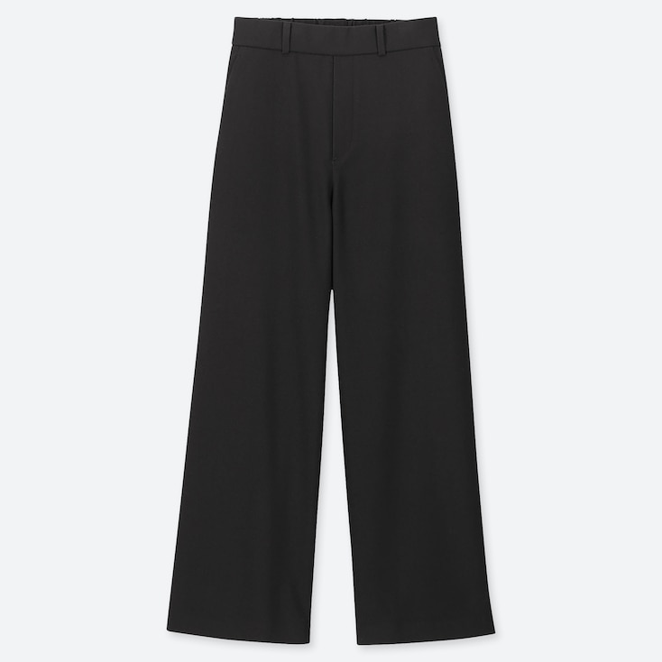 Women Wide Straight Pants (Brushed), Black, Large