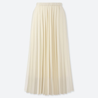 WOMEN PLEATED HIGH-WAISTED LONG SKIRT, OFF WHITE, medium