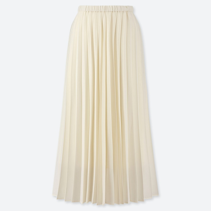 WOMEN PLEATED HIGH-WAISTED LONG SKIRT, OFF WHITE, large
