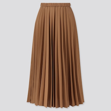 WOMEN PLEATED HIGH-WAISTED LONG SKIRT, BROWN, medium