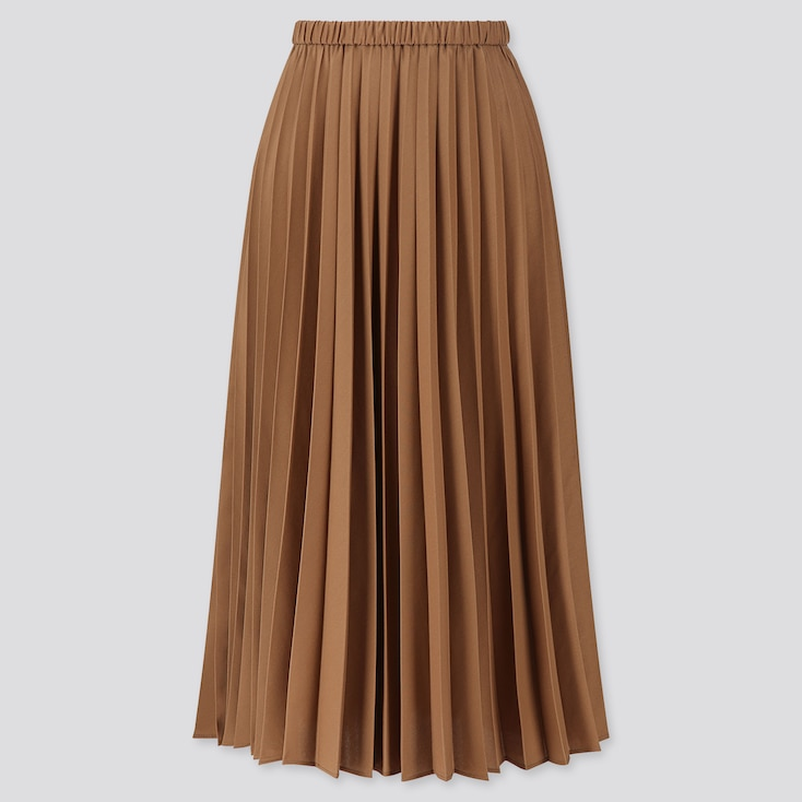 WOMEN PLEATED HIGH-WAISTED LONG SKIRT, BROWN, large
